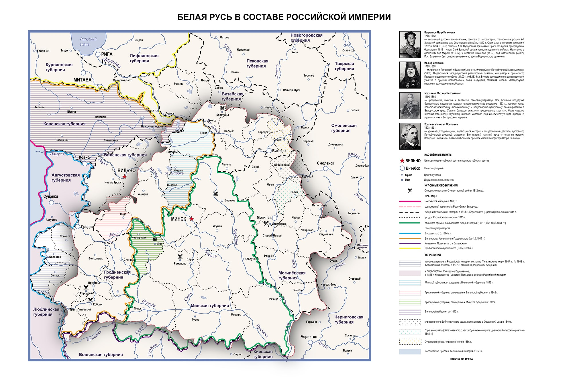 Карта «Белая Русь в составе Российской империи в XIX – начале XX в»